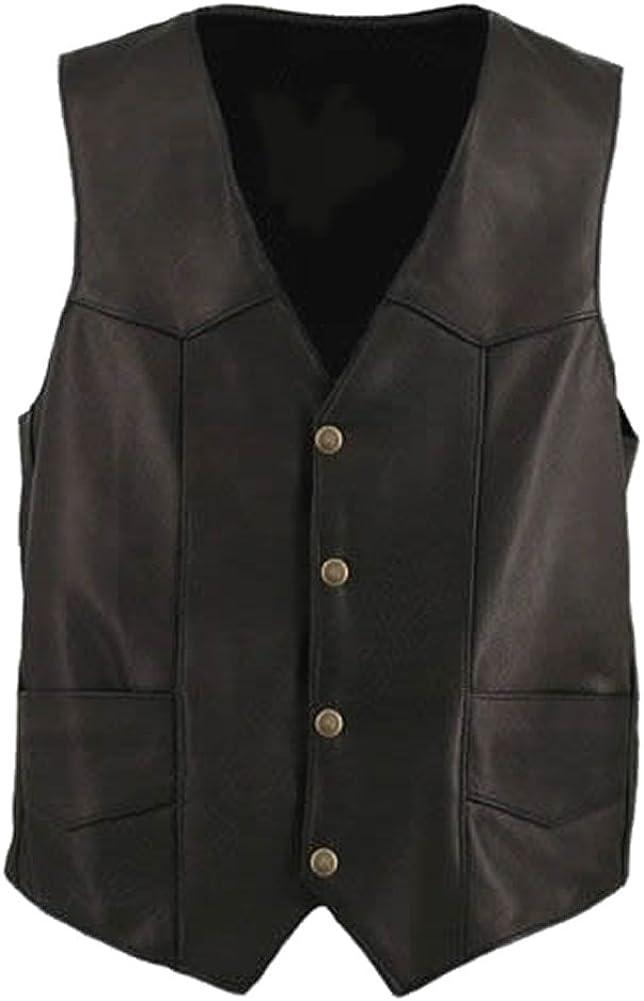 Classyak Men's Fashion Genuine Leather Moto Vest