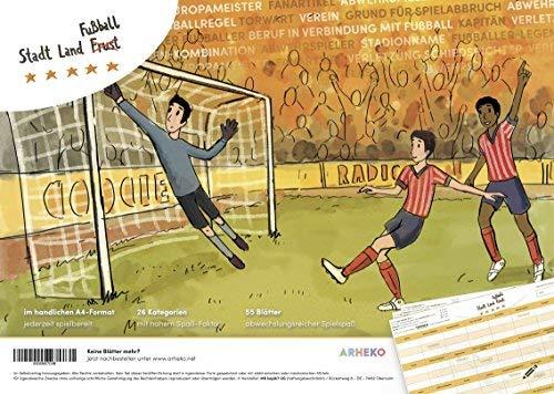 arheko Stadt Land Fußball -Kreatives Quiz für Fans und Experten -55 Seiten Block -26 Kategorien im DIN A4 Format –Spiel, Geschenk für Fußballfans