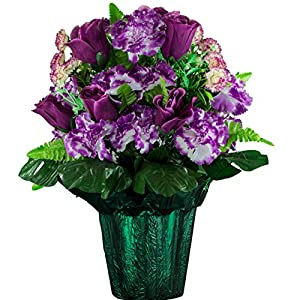 Sympathy Silks Memorial Artificial Flowers Weighted Pot Bouquet Decoration – Height 18″-20″ – Artificial Greenery – Fade Resistant – Plum Rose and Lavender Carnation