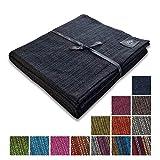 """Craft Story Decke """"Yara"""" I Uni schwarz aus 100% Baumwolle I Tagesdecke I Sofa-Decke I Überwurf I Bedspread I Plaid I Picknickdecke I Läufer I 170 x 220cm"""