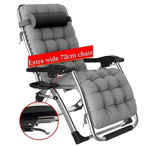 Amiiaz Widen Sun Lounger for Heavy People Zero Gravity Chair Folding Patio Lawn Chairs Reclining Outdoor Deck Chair MAX. 200kg Versatile- Silver