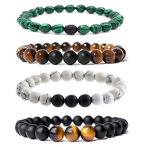 Bliqniq 4 Pcs 8mm Damen Chakra-Perlenarmband aus Onyx-Lava-Natursteinen Energiearmband mit Jaspis-Weltkugel Buddha Armreif Yoga-Armband 23er Beads
