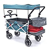 Creative Outdoor Push Pull Collapsible Folding Wagon Stroller Cart for Kids | Titanium Series | Beach Park Garden & Tailgate (Teal)'