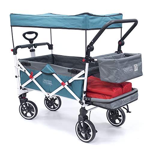 Creative Outdoor Push Pull Collapsible Folding Wagon Stroller Cart for Kids   Titanium Series   Beach Park Garden & Tailgate (Teal)'