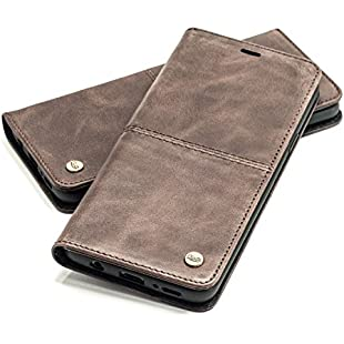 QIOTTI Galaxy S9 Plus Case Leather Case Cover for RFID NFC I incl. glass H9 + HD I Real Leather Card Slot Stand Genuine Leather Case Leather Cover Leather Case Mobile Phone Case brown coffee Samsung Galaxy S9:Interoot