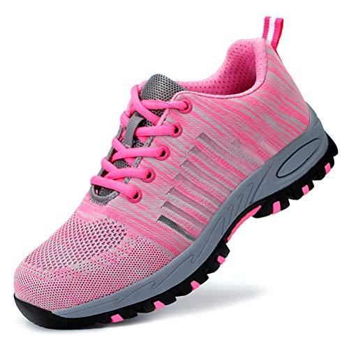 AIXSHOE Damen Leicht Arbeitsschuhe Sportlich Stahlkappe Sicherheitsschuhe Wanderhalbschuhe Schutzschuhe Hiking Trekking Schuhe S1P,Pink,38EU