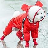 wsy Chubasquero para Mascotas, Impermeable De Cuatro Patas, Transpirable, Cómodo E Impermeable, Poncho Todo Incluido, Ropa De Lluvia para Mascotas, Perros Pequeños Y Medianos-Red||XL