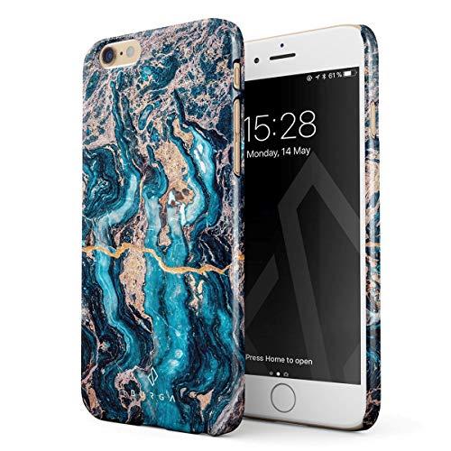BURGA Hülle Kompatibel mit iPhone 6 / 6s - Handy Huelle Blau Marmor Muster Blue Teal Turqoise Türkis Marble Mädchen Dünn Robuste Rückschale aus Kunststoff Handyhülle Schutz Case Cover