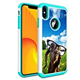 iPhone Xs Case,iPhone X Case,Skyfree Shockproof Heavy Duty Protection Hard PC & Soft TPU Hybrid Dual Layer Protective Phone Case for Apple iPhone X/iPhone Xs 5.8 inch,Funny Goat