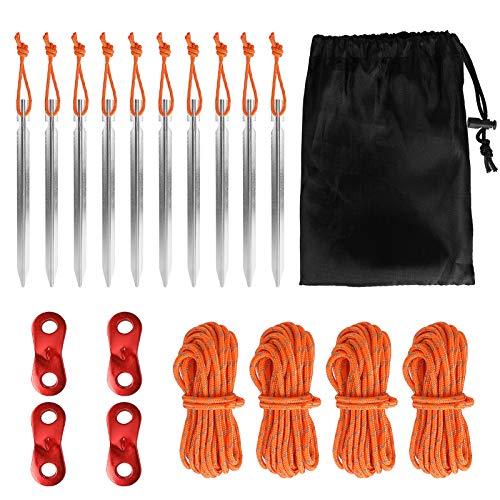 Brynnl Juego de 10 Clavijas para Tienda de campaña, 18 cm, aleación de Aluminio con Cuerda Reflectante, 4 Cuerdas, 4 Hebillas de Cuerda y Bolsa de Almacenamiento, Equipo de Camping para Camping