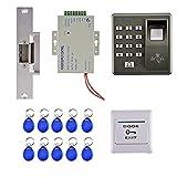 MERIGLARE Kit de Sistema de Control de Acceso RFID de Huellas Dactilares, Cerradura de Puerta Eléctrica + Tarjeta de Identificación