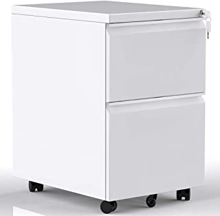 2-Drawer Mobile File Cabinet with Lock, Under Desk Vertical Mobile Filing Cabinet for Home and Office, Steel Construction, White