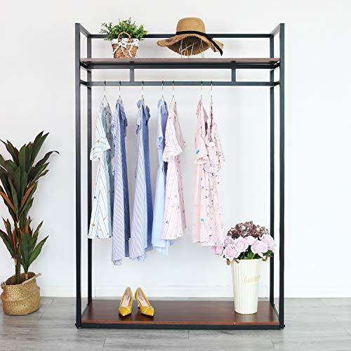 Heavy Duty Clothing Rack with Shelves for Hanging Clothing, Black Metal Freestanding Garment Rack for Retail Display (59' L)