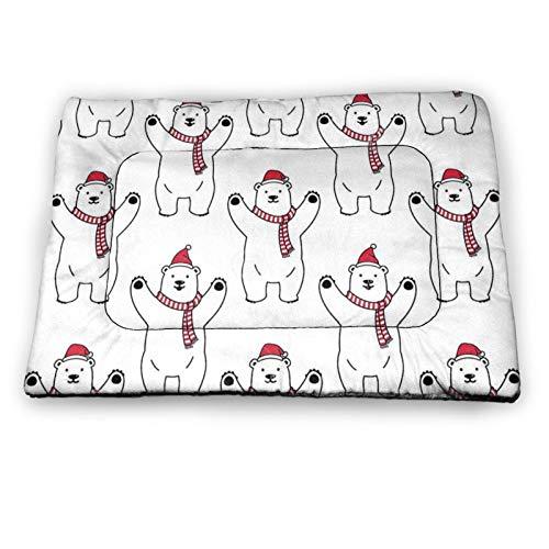 Arehji Christmas Polar Bear Santa Non Slip Pet Bed Mat Washable Dog Mattress Pad Cat Blanket Cushion 21' x14