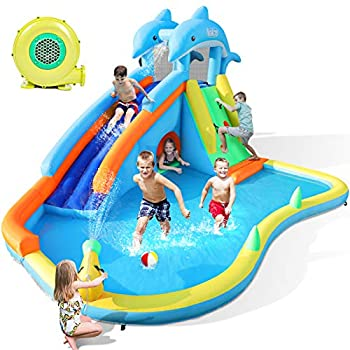Naice Inflatable Water Slide Bounce House for Wet and Dry Climbing Wall & Larger Splash Pool Water Gun & Hiding Hole Outdoor Backyard Waterslide for Kids Children Girl Boy  w/ 480W Blower & Hose