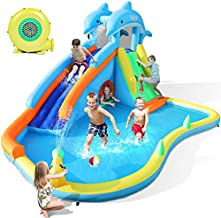 Naice Inflatable Water Slide, Bounce House for Wet and Dry, Climbing Wall & Larger Splash Pool, Water Gun & Hiding Hole, Outdoor Backyard Waterslide for Kids Children Girl Boy (w/ 480W Blower & Hose)