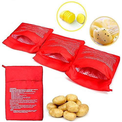 Kartoffelbeutel Kartoffeltasche Kochtasche Mikrowelle Beutel Mikrowellen Tasche Wiederverwendbarer Mikrowelle Kartoffeln Tasche Kartoffel Tortillas Maiskolben Express Backen Werkzeug, Rot 4 Stück