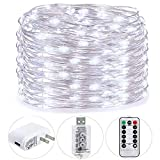 HSicily USB Plug in Fairy Lights with Remote Control Timer, 8 Modes 33ft 100 LED USB String Lights with Adapter,Cool White LED Twinkle Lights for Christmas Bedroom Indoor Decoration …