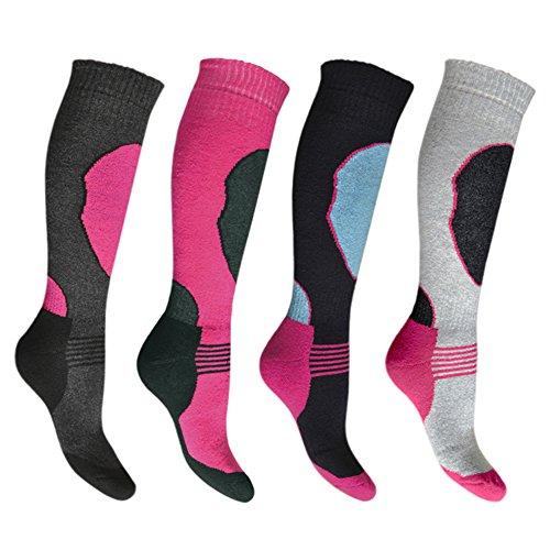 4 Paar Hochleistungs-Ski-Socken für Damen, lange Schlauch, Thermosocken, Größe 37-40
