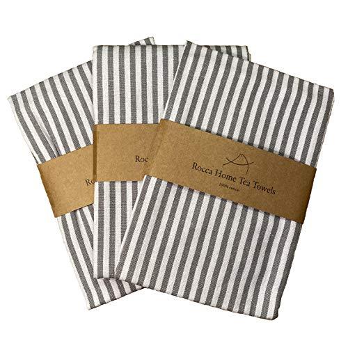 Set asciugamani da tè Rocca Home - Confezione da 3 asciugamani da cucina in cotone 100%, set asciugamani da regalo grigio bianco, eleganti strofinacci da tè, lavabili in lavatrice, 50 x 40 cm