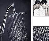 Alcachofa Ducha 8 Pulgadas Efecto Lluvia Cuadrada con Tubo de Extensión 1,5M Rotable Cabezal Ducha Grifo Ducha de Baño de Acero Inoxidable, Rainfall Shower Head Spray