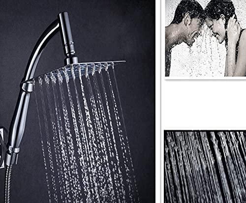 Soffione quadrato per doccia, da 20,3cm, in acciaio inox, girevole
