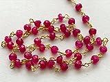 1piedi rosa calcedonio sfaccettato rondelle in argento 925oro filo avvolto collana stile rosario, calcedonio rosa in rilievo catena