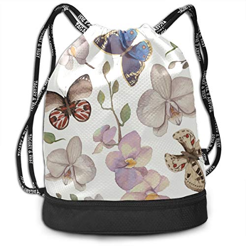 Gym Toiletry Bag Girls Butterfly Fairy With Flowers Gym Drawstring Bags Backpack Sports String Bundle Backpack For Sport With Shoe Pocket Best Backpack