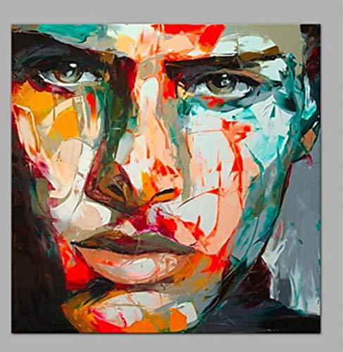 YHXIAOBAOZI 100% Handgemalt Abstrakt Zeichen Gemälde Auf Leinwand Bunte Männliche Gesichter Moderne Wand Kunst Schmuck Bilder Malen Für Live Zimmer Home Decor 36 × 36 cm (90 × 90 cm)
