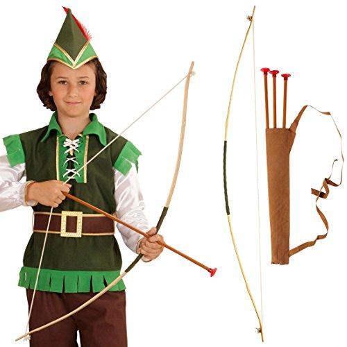NET TOYS Arco e frecce da Bambino Set da Robin Hood - Arco per Bimbi con faretra Arco e dardi da Indiano Tiro con L'Arco Arciere Accessorio Costume