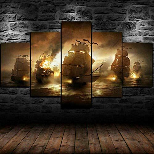 Cuadro Barco Pirata Luchando contra El Fuego XXL Impresiones En Lienzo 5 Piezas Cuadro Moderno En Lienzo Decoración para El Arte De La Pared del Hogar 150×80 Cm HD Impreso Mural (Enmarcado)
