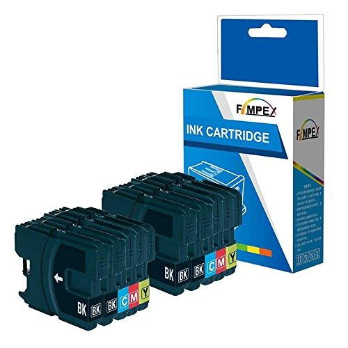 Fimpex Kompatibel Tinte Patrone Ersatz für Brother MFC-250C MFC-255CW MFC-290C MFC-295CN MFC-297C MFC-490CN MFC-5490CN MFC-5890CN MFC-790CW MFC-795CW MFC-6490CW LC980 (BK/C/M/Y, 10-Pack)