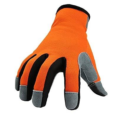 OZERO Gardening Gloves Flex Deerskin Leather Touch Screen Work Glove for Yard Working/Garden/Bike Cycling/DIY/Mechanic for Women and Men (OrangeRed,Large)