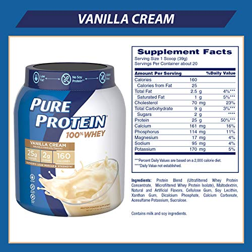 PureProtein100%WheyPowder-VanillaCream,1.75poundsbyPureProtein
