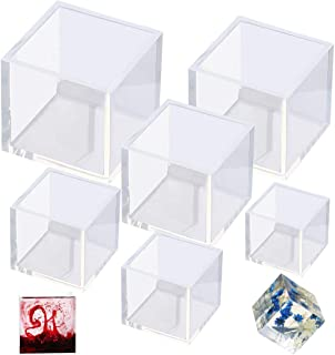 Outgeek Resin Mold Silicone Square Mould: 6PCS Cube Resin Mould 6 Differet Sizes Art DIY Jewelry Keychain Making Kit Candl...