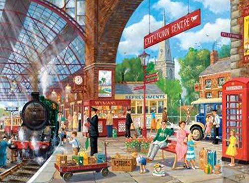 Klassiek puzzelspel 1000 stukjes puzzel Train Nu Permanent bij station Game Artwork for Kids volwassenen Teens Puzzle Toys Stevig en gemakkelijk