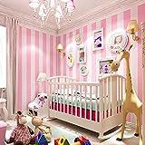 KAMAUAY Papel Pintado A Rayas Minimalista Moderno Habitación Infantil Rosa Habitación De Niña Cálida Habitación Papel Tapiz No Tejido