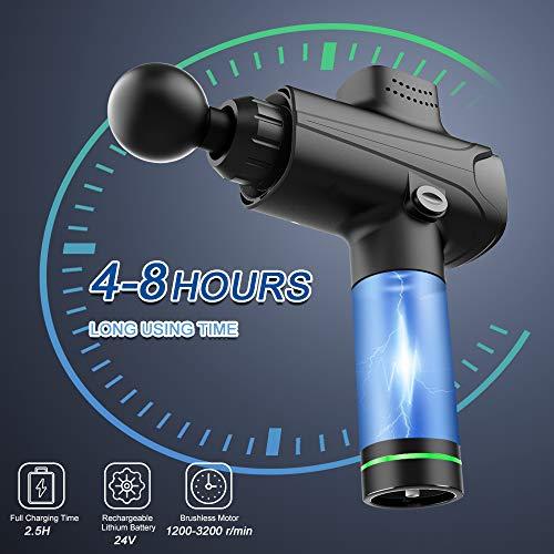 Massage Gun, EKUPUZ Massage Gun Deep Tissue Muscle Massager, Ultra-Quiet 20 Speeds Electronic Massager with 6 Massage…