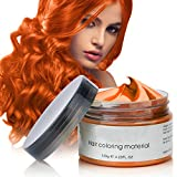 Cire Couleur Cheveux, Cire de Modelage de Cheveux Cire Coloration Temporaire Cheveux, Style de Cheveux Mat Naturel Pour Hommes et Femmes, Teinture Capillaire Lavable Wax … (orange)
