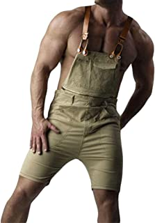 Jitong Men's Denim Dungarees Cargo Shorts with Pocket Ripped Distressed Jeans Overalls Jumpsuits