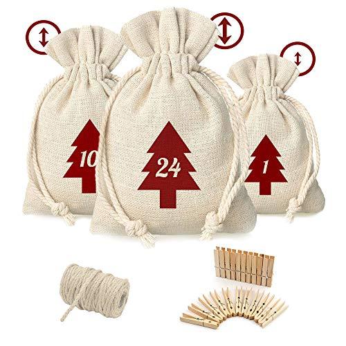 SicurezzaPrima Adventskalender Säckchen 2020 zum Befüllen mit 3 unterschiedlich großen Taschen - DIY Kalender für Kinder (Jungen & Mädchen), Männer, Frauen und Paare, 3 Größen, Baumwoll-Stoff