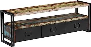 Festnight- Mueble para TV de Madera Maciza Reciclada Mesa Televisión Estilo Antiguo 120x30x40 cm