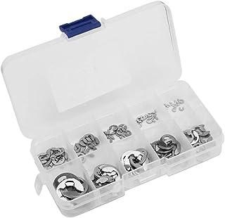 300PCS M2 M22 E-Type Retaining Ring Snap Ring Matching Kit Black Anti-Corrosion Coating Steel Shaft Retaining Ring Bearing Cage Circlip Washer