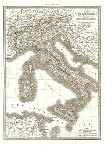 Historic Map : Italy: Sardinia, Naples, Tuscany, Modena, Lapie, 1831, Vintage Wall Décor : 32in x 44in