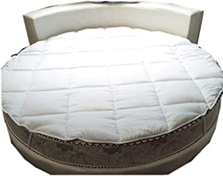 GX&XD Thicken Round Bed Mattress Topper,Anti-Slip Quilting Mattress Protector Cover with Elastic Strap for Hotel-White diameter220cm(87inch)