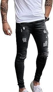 Qitun Pantalones de Hombre Elástico Ripeado Motocicleta Jeans Destruido Rotos Ajustado Vaqueros