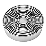 12 Pieces Round Biscuit Cookie Cutter Set - Stainless Steel Circle Donut Cutter Molds Asso...