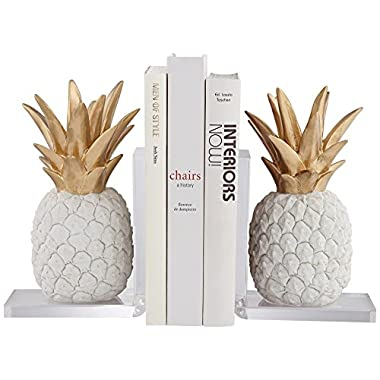 Dahlia Studios Pineapple White and Gold Bookends Set of 2