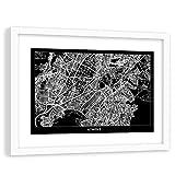 Poster mit Rahmen weißer Athens Modern Art Karte Stadtplan