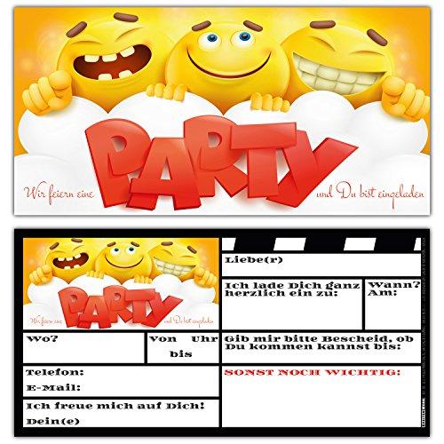 BREITENWERK 12 Smiley Einladungskarten im Set zum Ausfüllen - Coole Emoji Geburtstags-Einladungen für Jungen und Mädchen Kindergeburtstag Party